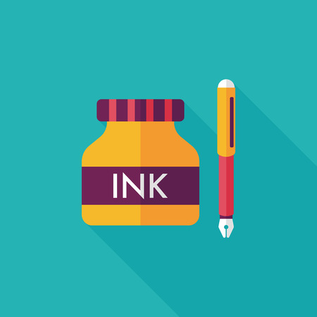 stylo: pen and  ink bottle flat icon with long shadow,eps10
