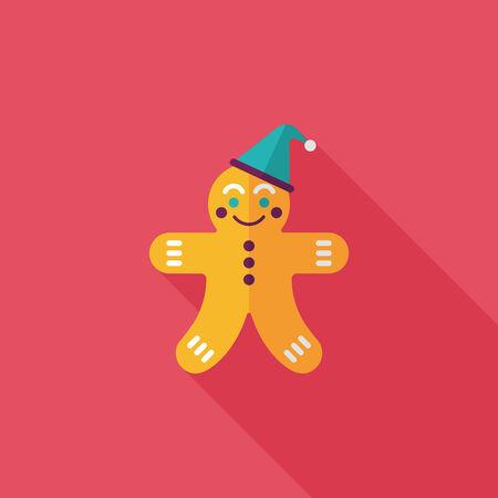 weihnachtskuchen: Lebkuchenmann flach Symbol mit langen Schatten, eps10 Illustration