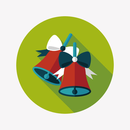 Christmas bells flat icon with long shadow,eps10 Vector