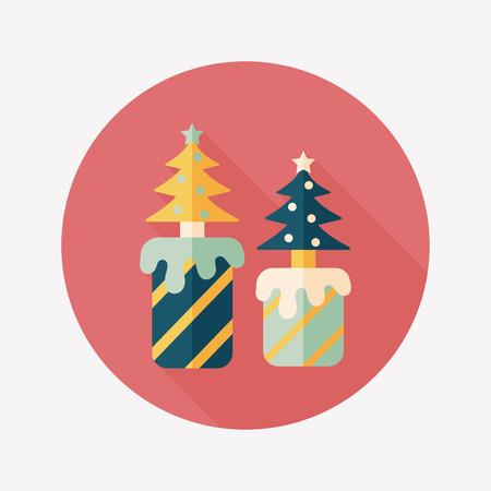 adventskranz: Weihnachtskerze Flach Symbol mit langen Schatten, eps10