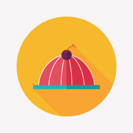 gelatin: sweet jelly flat icon with long shadow