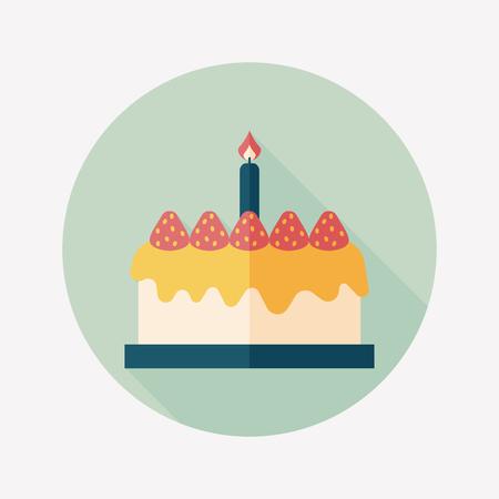 birthday cake flat icon with long shadow Ilustracja