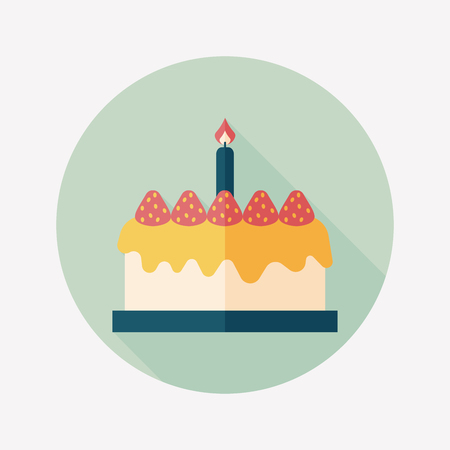 birthday cake flat icon with long shadow Vettoriali