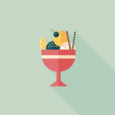 chock: ice cream flat icon with long shadow