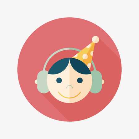 Birthday party flat icon with long shadow Vector