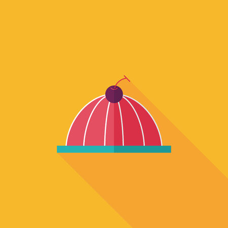 food icons: sweet jelly flat icon with long shadow
