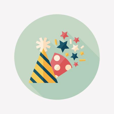 chapeau de fête d'anniversaire icône plat avec ombre