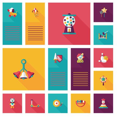 kid toys flat app ui background,eps10 向量圖像