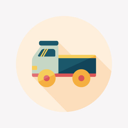 Truck flat icon with long shadow,eps10 Vector