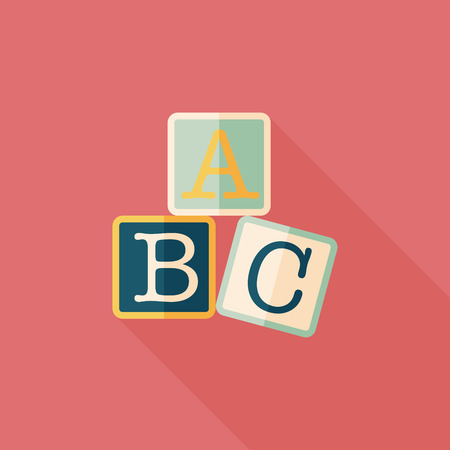 abc blocks: ABC blocks flat icon with long shadow,eps10