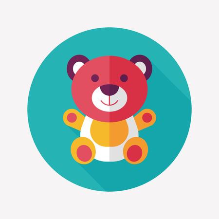 teddy bear cartoon: teddy bear flat icon with long shadow,eps 10