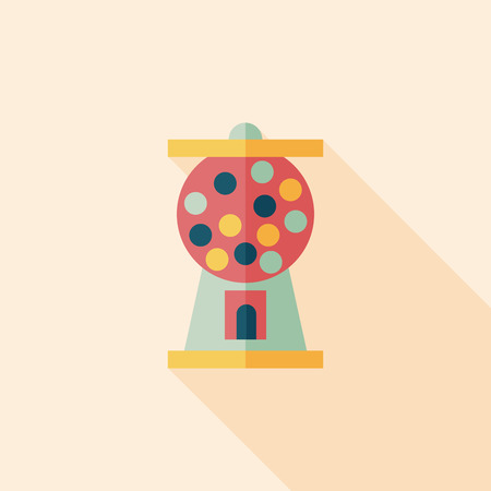 Gumball Machine flat icon with long shadow,eps10 Vector