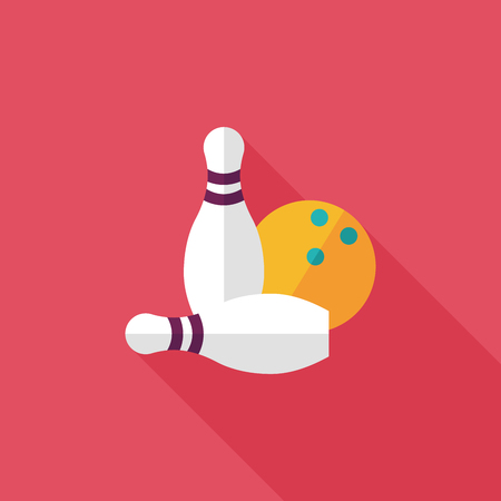 Bowling game flat icon with long shadow