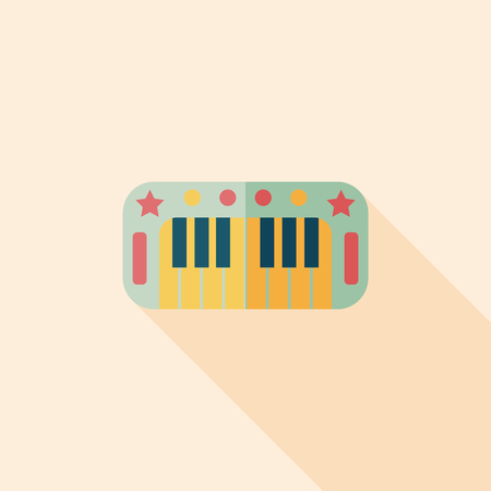 piano flat icon with long shadow,eps10 Vector