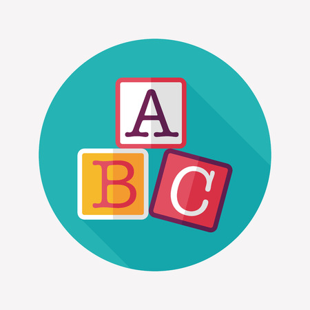 ABC blocks flat icon with long shadow,eps10