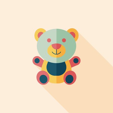 teddy bear love: teddy bear flat icon with long shadow,eps 10