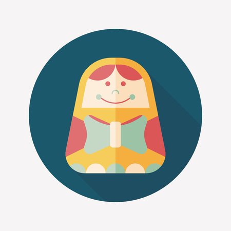 Russian Doll flat icon with long shadow,eps 10 Vector