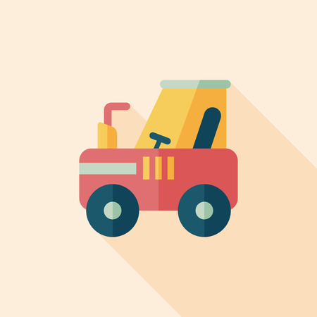 agronomy: tractor flat icon with long shadow,eps10