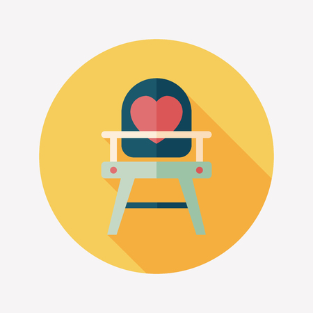 high chair: beb� icono plana silla alta con la larga sombra Vectores