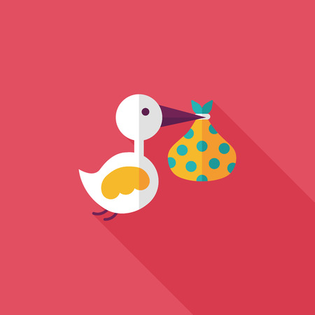 newborn baby girl: bird and baby flat icon with long shadow