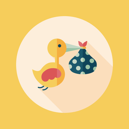bird and baby flat icon with long shadow Vector