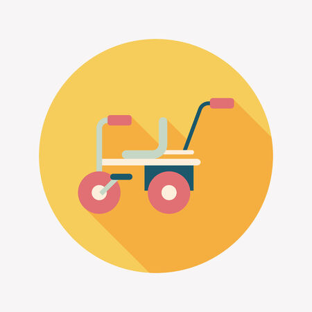 Child bike flat icon with long shadow Vector