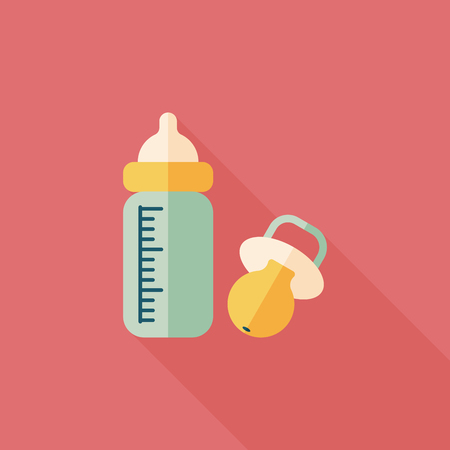 baby with bottle: Baby bottle flat icon with long shadow,EPS 10