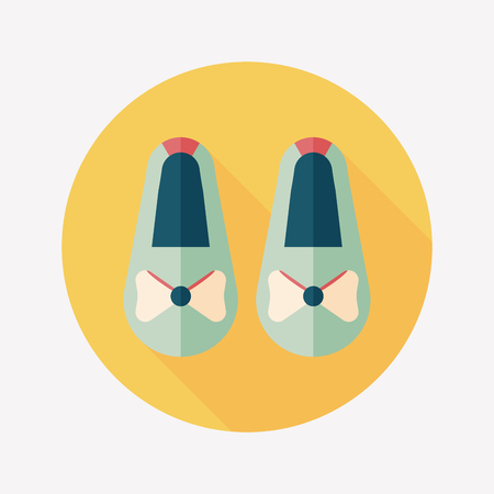 baby booties flat icon with long shadow Vector