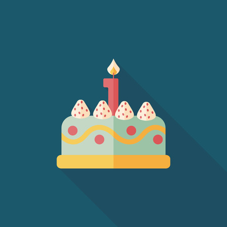 birthday cakes: birthday cake flat icon with long shadow,eps10 Illustration