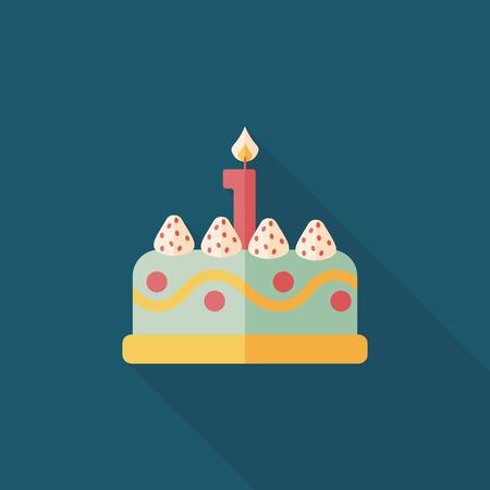 pasteles de cumpleaños: icono plana pastel de cumpleaños con larga sombra, eps10
