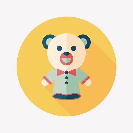 bear hand puppet flat icon with long shadow,eps10 Vector