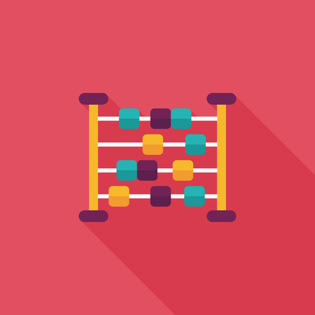 abacus calculation flat icon with long shadow Illustration