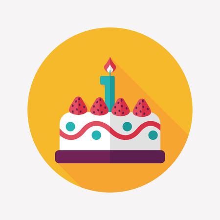 birthday cake flat icon with long shadow,eps10 Illustration
