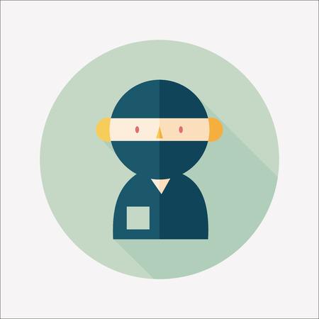 enfermera quirurgica: personal m�dico con estetoscopios icono plana con larga sombra Vectores