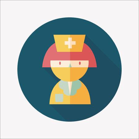 Medicine nurses flat icon with long shadow Vector