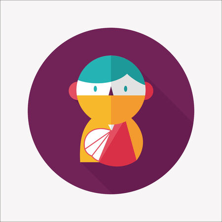 physical therapy: Female patient flat icon with long shadow Illustration