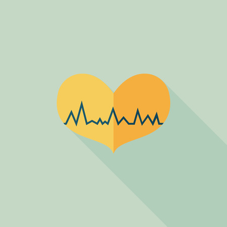 ECG heart flat icon with long shadow Vector
