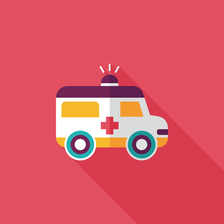 ambulance flat icon with long shadow Vector
