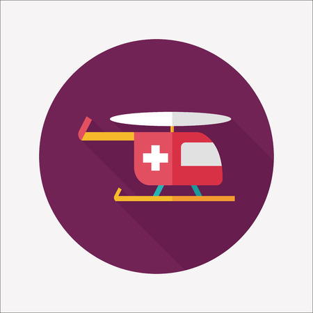 Medical helicopter flat icon with long shadow Vector