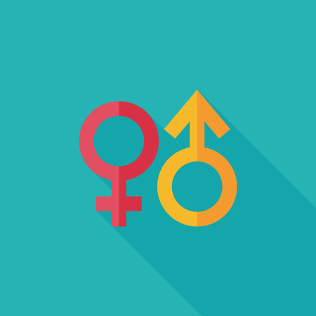 nude man: Gender symbol flat icon with long shadow