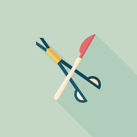 Chirurgisch instrument vlakke icoon met lange schaduw