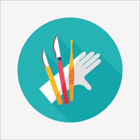 surgical glove: Surgical Instrument flat icon with long shadow