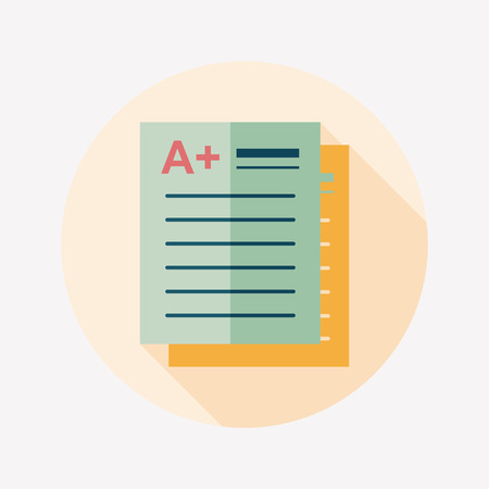 A plus grade in the notebook,flat icon with long shadow Vector
