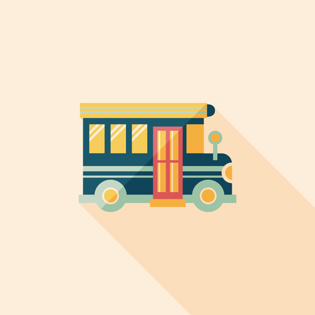 back view student: School Bus flat icon with long shadow