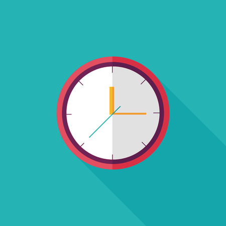 wall clock: Clock flat icon with long shadow,eps10 Illustration