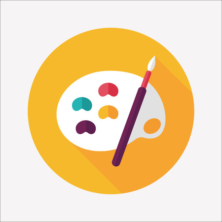 Art palette with paint brush flat icon with long shadow,eps 10 Illustration