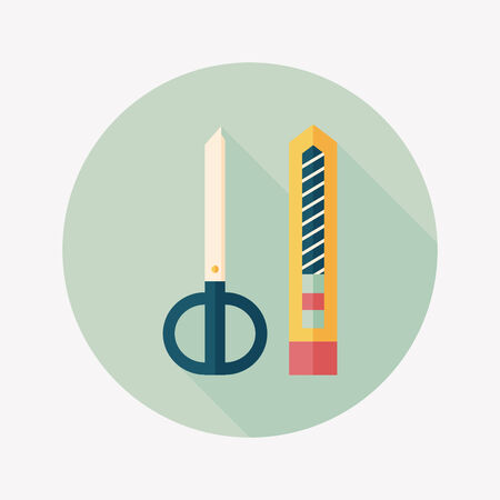Scissors and paper knife flat icon with long shadow,eps10 Vector