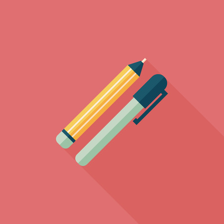 Pencil and pen flat icon with long shadow,eps10 Vector