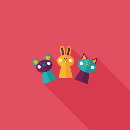 expressing positivity: hand puppet flat icon with long shadow,eps10 Illustration