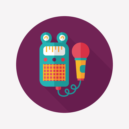 toy microphone flat icon with long shadow,eps10 Vector